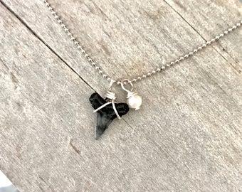 The Sharkie Pearl Charm Necklace - Sterling Silver Ocean Love by ZEN by Karen Moore Jewelry -