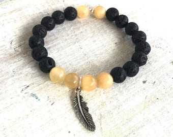 Feather & Calcite Gemstone Lava Aromatherapy Bracelet - 3rd Chakra - Positivity. Cleansing. Energizing. - ZEN by Karen Moore Jewelry