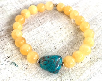 Arizona Turquoise & Calcite Gemstone Bracelet - Positive Energy - ZEN by Karen Moore Jewelry