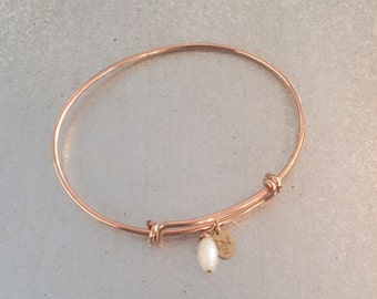 Mother of Pearl Charm Bangle - Love & Protection - 7th Chakra ZEN Jewelry