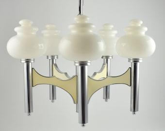 Sciolari pendant lamp, large Italian five arm regency chandelier in chrome and white glass