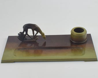 Ystad bronze inkwell, swedish brons design inkwell from ystad sweden c. 1930s