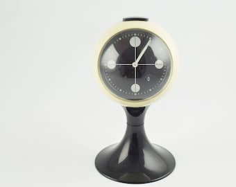 Blessing alarm clock, black and white pedestal tulip shape, made in Germany. Space age era, made of plastic from the early 1970S
