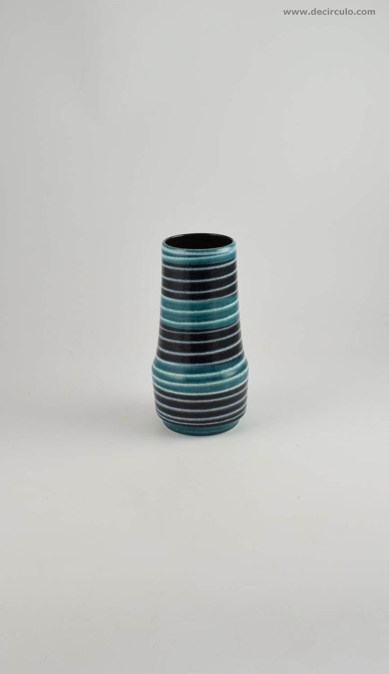 West German Scheurich 529 25 Vase Blue Fat Lava Vintage Mid image 0