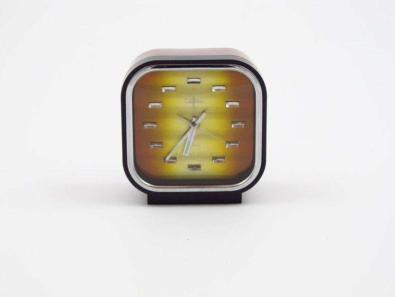 coral retro alarm clock two tone bronze dial made in japan image 0