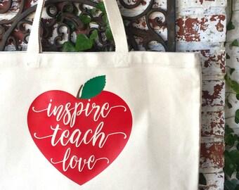 Inspire Teach Love Large Canvas Tote Bag - Teacher's Heart Shoulder Tote - Teacher Reusable Shopping Bag - Book Bag - Teacher Gift Idea