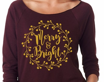 Merry & Bright Christmas Shirt - Merry and Bright Christmas Off the Shoulder Tee - Holiday Design T-shirt  - Southern Girls Collection Shirt