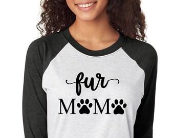 Fur Mama Raglan Shirt - Dog Mama Tshirt - Cat Mama Shirt - Custom Fur Mama Shirt - Pet Mama Baseball Tee