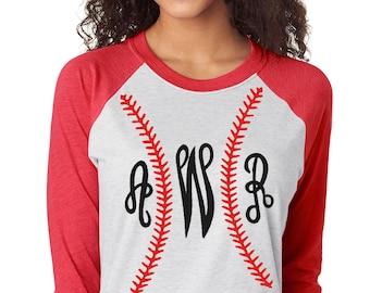 Monogram Baseball Stiches Raglan Shirt - Personalized Baseball Tshirt - Graphic Baseball Shirt - Softball Shirt - T Ball Shirt - Team Mom