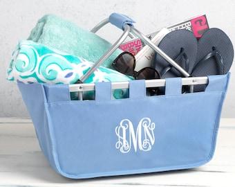 Large Monogrammed Market Baskets - Personalized Market Tote - Beach Basket Idea - Beach Tote - Carry All - Dorm Decor - Monogram Tote Basket