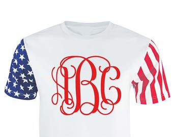 Stars and Stripes Monogrammed Shirt - Red White and Blue Monogrammed Tshirt - Monogram Shirt - July 4th Shirt - Personalize Tee Shirt