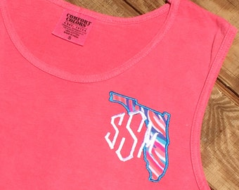 Lilly State Monogram Tank -Lilly State Tank Top -  Lilly Monogrammed State Tank - Lilly fabric Monogram State Tank Top Cover up