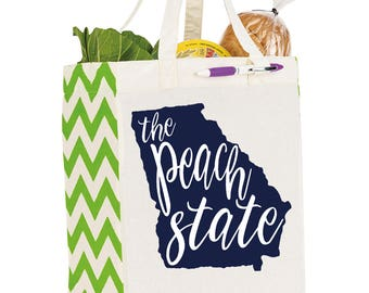 Georgia Peach State Cotton Market Tote Bag - Canvas Farmers Market Tote - Reusable Bag - Southern Girls Collection design - Farmer's Market