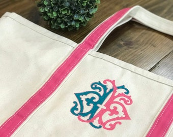 Large Vintage Double Monogram Boat Tote - Monogrammed Boat Tote - Monogram Bag - Monogrammed Tote Bag - Embroidered Tote - Bridesmaids Gift