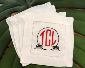 Sharks Monogrammed Linen Cocktail Napkins Set of Four - Custom White Linen Cocktail Napkin Set - Personalized Linen Napkin - Shark Week