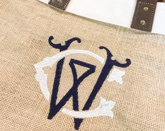 Couture Chic Monogram Burlap Market Tote - Monogrammed Jute & Leather Tote - Monogram Grocery Tote Bag - Monogrammed Picnic Bag Market Tote