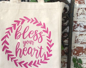 Bless Your Heart Canvas Market Tote Bag - Bless Your Heart Eco Tote - Reusable Grocery Shopping Bag - Book Bag - Foldable Shopping Tote Bag