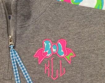 Lilly Bow Monogrammed 1/4 Zip Sweatshirt - Lilly Bow Monogram Quarter Zip - Preppy Bow Monogram Pullover - Lilly Bow Popover