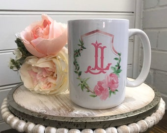 Floral Frame Monogrammed Mug - Monogrammed Coffee Cup -  Personalized Drink Ware - Bridesmaids Gift Idea - Housewarming Gift Idea  - Boho