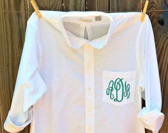 Monogram Bridesmaid Shirt - Monogrammed Boyfriend Shirt - Bridal Party Prep Shirts - Monogram Button Up Shirt - Bridesmaid Shirt - Brides