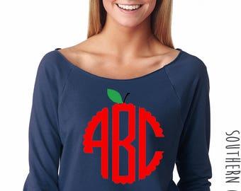 Apple Monogram Sweatshirt - Teacher Apple Design Off the Shoulder Tee - Graphic Raw Edge Neck Sweatshirt - Apple Monogrammed Teacher Shirt