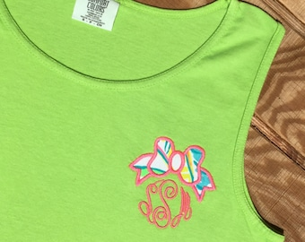 Lilly Bow Monogram Tank -Lilly Bow Tank Top -  Lilly Monogrammed Bow Tank - Lilly Bow Monogram Tank Top Cover up