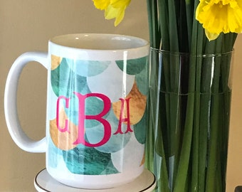 Mermaid Monogrammed Mug - Monogrammed Coffee Cup -  Personalized Drink Ware - Bridesmaid Gift Idea - Housewarming Gift Idea - Teacher Gifts
