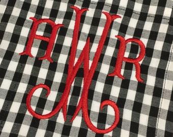 Monogram Buffalo Plaid Boyfriend Shirt - Monogram Oversize Button Up Shirt - Gingham Check Shirt - Personalize Oxford - Monogram Plaid