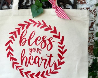 Bless Your Heart Large Canvas Tote Bag - Bless Your Heart Shoulder Tote - Reusable Shopping Bag - Book Bag - Southern Saying Tote Bag