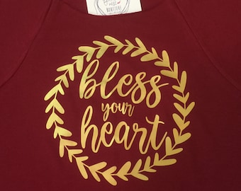 Bless Your Heart Shirt - Bless Your Heart Wreath Off the Shoulder Tee - Valentine's Sweatshirt - Holiday Southern Girls Collection Shirt