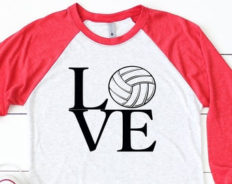 VolleyBall Raglan Shirt - LOVE Volleyball Tshirt - Graphic Volleyball Shirt - Volleyball Shirt - Volleyball Tee - Volleyball Mom shirt