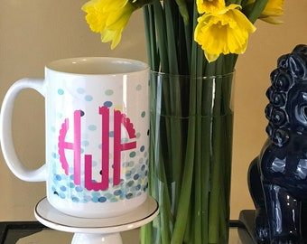 Confetti Monogrammed Mug - Monogrammed Coffee Cup -  Personalized Drink Ware - Bridesmaids Gift - Housewarming Gift Idea - Birthday Gift