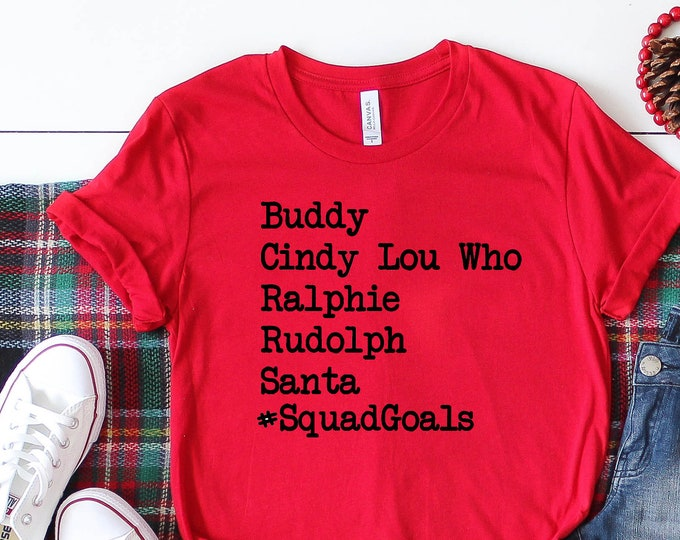 Featured listing image: Christmas Squad Goals Design on a  Short Sleeved Shirt - Christmas Movies design Short Sleeve Tee - Holiday Squad Goals TShirt