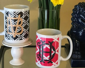 Chinoiseire Bamboo Monogrammed Mug - Monogrammed Coffee Cup -  Personalized Drink Ware - Bridesmaid Gift Idea - Housewarming Gift - Teacher