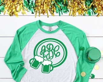 Monogrammed Cheers Beers St. Patrick's Raglan Shirt - Monogram St Paddy's Day Baseball Shirt - Monogram Beer Mugs St Patricks Day Shirt