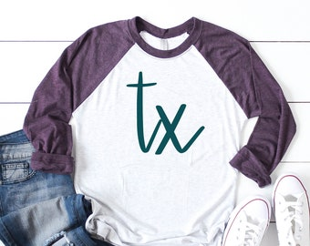 State Abbreviation Raglan Shirt - State Pride Raglan Tee - State Abbreviation Design T-shirt - Custom made in any State Abbreviation
