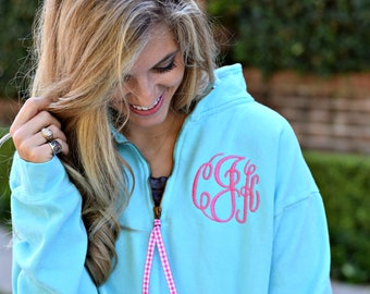 Comfort Colors Monogrammed Quarter Zip Sweatshirt - Monogram 1/4 Zip Sweatshirt - Monogrammed Quarter Zip - Embroidered Quarter Zip Pullover
