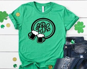 Monogram Cheers Beers St. Patrick's Day Short Sleeved Shirt - Monogrammed Beer Mugs Short Sleeve Tee - St Patricks Day Short Sleeve TShirt