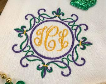 Fleur De Lis Monogrammed Cotton Tea Towel - Custom White Cotton Accent Towel - Personalized Guest Towel - Chinoiserie Chic - Mardi Gras