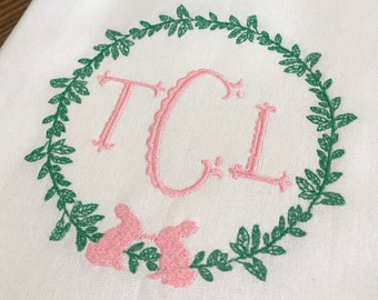 Monogrammed Easter Wreath Cotton Tea Towel - Custom White Cotton Accent Towel - Personalized Guest Towel - Easter Linens - Monogram Easter