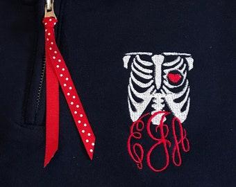 XRay Tech Monogram 1/4 Zip Sweatshirt - X Ray Technician Monogram Quarter ZIp - Monogrammed Radiologist  1/4 Zip - Healthcare Sweatshirt
