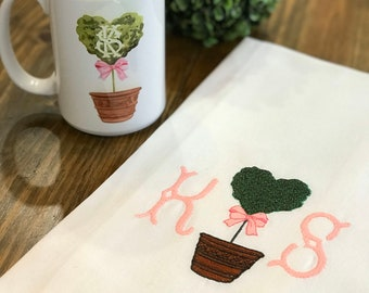 Heart Topiary Monogrammed Cotton Tea Towel - Custom White Cotton Accent Towel - Personalized Guest Towel - Chinoiserie Chic - Heart Monogram
