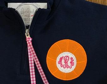 Sport Design Monogrammed 1/4 Zip YOUTH SIZED Sweatshirt Pullover - Basketball Monogram Quarter Zip - Football  Monogram Popover - Cheer