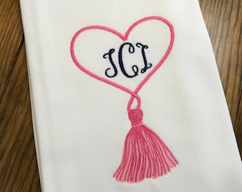 Heart Tassel Monogrammed Cotton Tea Towel - Custom White Cotton Accent Towel - Personalized Guest Towel - Chinoiserie Chic - Valentines Day