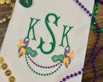 Mardi Gras Monogrammed Cotton Tea Towel - Custom White Cotton Accent Towel - Personalized Guest Towel - Chinoiserie Chic - Mardi Gras Beads