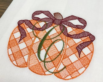 Gingham Pumpkin Monogrammed Cotton Tea Towel - Custom White Cotton Accent Towel - Personalized Guest Towel - Chinoiserie Chic - Thanksgiving