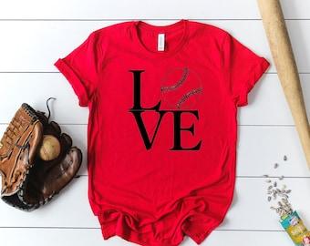 Softball Love Short Sleeved Shirt - Baseball Love Short Sleeve Tee - Softball Mom Triblend Short Sleeve Tee - Baseball Mom Short Sleeve Tee