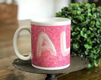 Personalized Name Mug - Balloon Name Coffee Cup - Rose Gold Balloon  Personalized Drink Ware - Bridesmaids Gifts Idea - Birthday Gift Idea