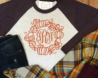 Monogrammed Thanksgiving Wreath Shirt - Monogrammed Fall Wreath Raglan Tee - Baseball shirt - Thanksgiving Shirt - Thanksgiving Raglan