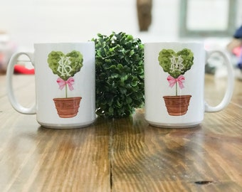 Valentine Topiary Mug - Valentine's Coffee Cup - Monogrammed Heart Topiary Mug - Monogram Valentine's Day Mug - Chinoiserie designed mug